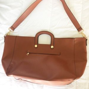 Brown Faux Leather Work Bag